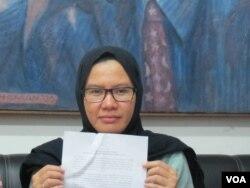 Wakil Koordinator Bidang Advokasi Kontras, Yati Andriyani. (VOA/Fathiyah Wardah)