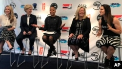 From left, Caiti Donovan, executive director of SheIS; Brenda Andress, commissioner of the Canadian Women's Hockey League; Lisa Borders, president of the WNBA; Stacey Allaster, chief executive for the US Tennis Association; and Dr. Jen Welter, the first female NFL coach, all meet to speak with sponsors, investors and other commissioners of leagues in New York, April 18, 2018. Women's sports leagues are banding together for the first time with a new initiative — SheIS.