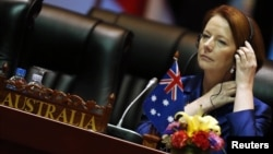 Australia's Prime Minister Julia Gillard at the start of a plenary session on the second day of the ASEM Summit in Vientiane, Laos, November 6, 2012