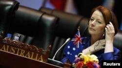 Thủ tướng Úc Julia Gillard tham có mặt tại hội nghị ASEM ngày thứ hai tại Vientiane, Lào, 6/11/2012.