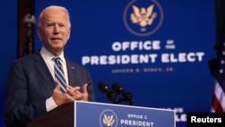 លោក Joe Biden ដែលត្រូវបានគេព្យាករណ៍ថាឈ្នះការបោះឆ្នោតប្រធានាធិបតីសហរដ្ឋអាមេរិក ថ្លែងក្នុងសន្និសីទព័ត៌មានមួយនៅក្នុងទីក្រុង Wilmington រដ្ឋ Delawareកាលពីថ្ងៃទី១០ ខែវិច្ឆិកា ឆ្នាំ២០២០។