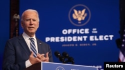U.S. President-elect Joe Biden speaks about health care and the Affordable Care Act (Obamacare) at the theater serving as his transition headquarters in Wilmington, Delaware, U.S. November 10, 2020.