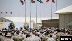 """阿富汗南部赫尔曼德省的海军陆战队""""皮领""""营地"""