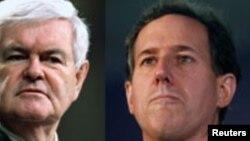 Os candidatos Republicanos ( da esquerda para a direita): Mitt Romney; Newt Gingrich U.S. Representative Ron Paul; Rick Santorum; Ron Paul