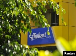 The logo of India's largest online marketplace Flipkart is seen on a building in Bengaluru, India, April 22, 2015.