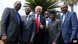 Perezida Trump mw'ifoto na zimwe mu ndongozi za Afrika harimwo na Kenyatta (ibubamfu)