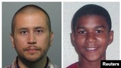 Foto petugas siskamling sukarela, George Zimmerman (kiri) didakwa pembunuhan tingkat dua pada kasus penembakan Trayvon Martin (kanan) (Foto: dok). Foto kombinasi ini diambil dari buku foto kantor polisi Seminole County, Florida (11/4).