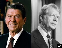 Ronald Reagan, left, and Jimmy Carter.