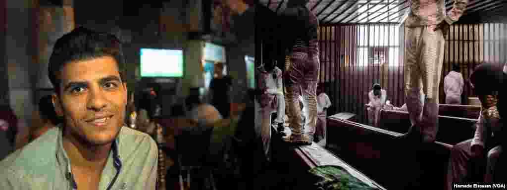 """រូបឆ្វេង៖ លោក Mohamed Ismael ជាគណនេយ្យនៃក្រុមហ៊ុនទីផ្សារភាគហ៊ុនមួយ បាននិយាយថា៖ """"បើទោះជាការមើលការប្រកួតកីឡានៅហាងកាហ្វេមិនដូចមើលនៅស្តាតក៏ដោយ និងដោយសារការប្រកួតកីឡាបាល់ទាត់ភាគគ្មានការចូលរួមពីអ្នកគាំទ្រ និងអ្នកឧបត្ថម្ភឡើយ ដូច្នេះហើយខ្ញុំត្រូវមកមើលនៅហាងកាហ្វេអីចឹង""""។ រូបស្តាំ៖ ចុងជាប់ចោទនៃការសម្លាប់រង្គាលក្នុងព្រិត្តិការណ៍ប្រកួតកីឡា ដែលនៅពេលនោះអ្នកគាំទ្រក្លឹបAl-Ahli ចំនួន៧៤នាក់ត្រូវបានគេសម្លាប់ក្នុងដើមឆ្នាំ២០១២ បានបង្ហាញខ្លួនក្នុងសាលាក្តីក្នុងរដ្ឋធានីគែរ។"""