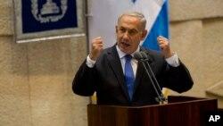 Predsednik vlade Izraela Benjamin Netanjahu tokom obraćanja Knesetu, 14. oktobra 2013.
