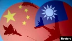 中國和台灣旗幟與戰機