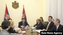 Susret premijera Srbije Ivice Dačića i predsednika Evropske banke za obnovu i razvoj Sume Čakrabartija, Beograd, 31. avgust 2012.