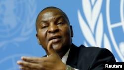 Faustin-Archange Touadera, président de la Centrafrique, s'adresse devant les Nations unis à Genève, Suisse, le 27 septembre 2017.