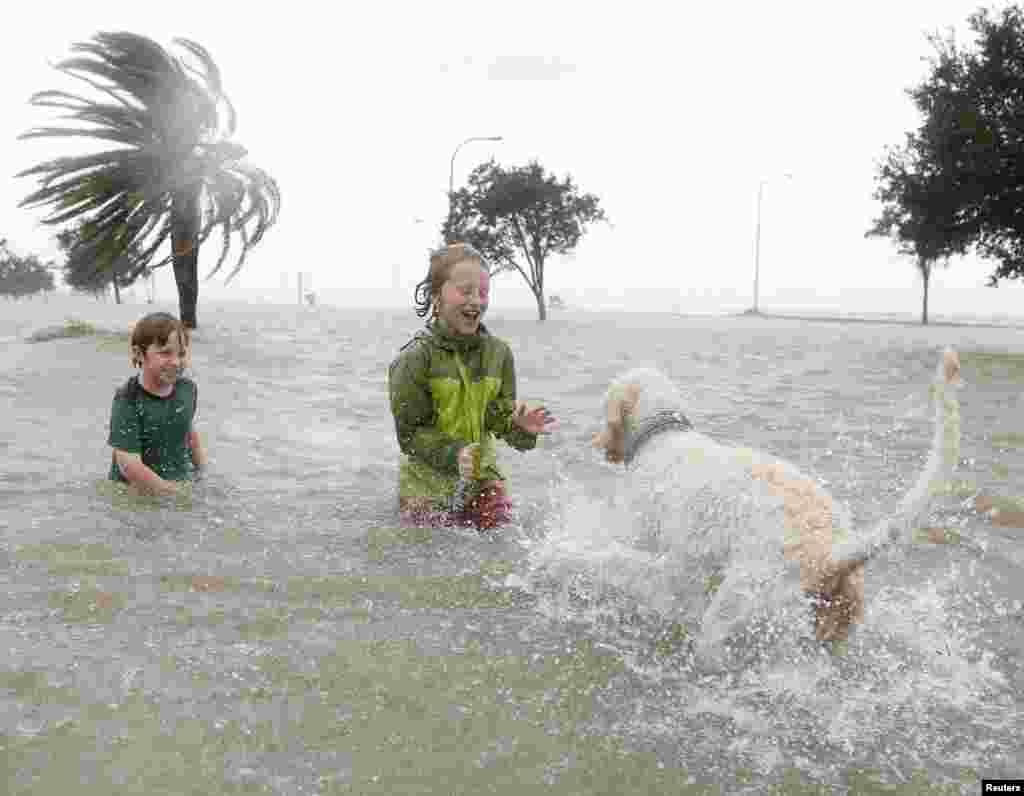 10-year-olds Joshua Keegan (L) and Ruffin Henry (C) play with Scout in a flooded area outside of the levee system along the shores of Lake Pontchartrain as Hurricane Isaac approaches New Orleans, Louisiana August 28, 2012.