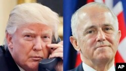 Presiden AS Donald Trump, 28 Januari 2017 (kiri) dan PM Australia Malcolm Turnbull, 20 November 2016 (kanan) (Foto: dok).