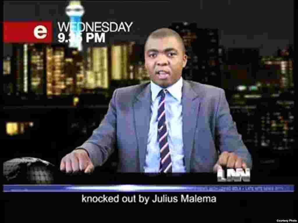 Kibuuka stars on the e.tv show, The Late Nite News, with fellow comedian Loyiso Gola (Courtesy D. Kibuuka)
