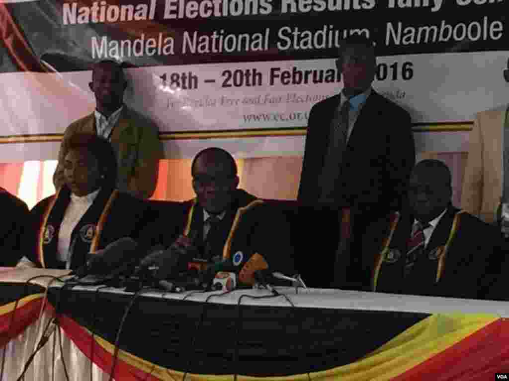 Uganda's electoral commission announces imcumbent President Yoweri Museveni the winner in Thursday's election.