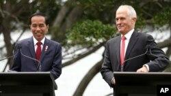 맬컴 턴불 호주 총리(오른쪽)가 지난달 26일 시드니를 방문한 조코 위도도 인도네시아 대통령과 공동기자회견을 가졌다.