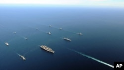 美韓海軍 星期二黃海聯合軍演