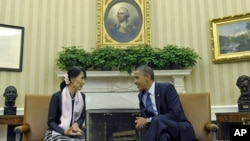 昂山素季与奥巴马在白宫会晤