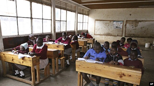 Pupils at the Toi Primary School in Nairobi, Kenya, sit in a classroom and study, September 6, 2011.