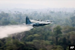 In a photo released by Brazil's Ministry of Defense, a C-130 Hercules aircraft dumps water to fight fires burning in the Amazon rainforest, in Brazil, Aug, 24, 2019.