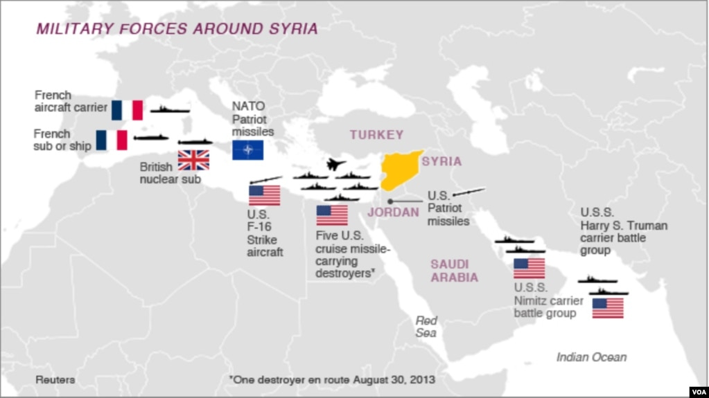 US Military Has Myriad Ways To Strike Syria In Potential Operation - Us Military Bases Around The World Map