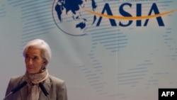 ທ່ານນາງ Christine Lagarde ຫົວໜ້າກອງທຶນສາກົນ ຫລື IMF ເຂົ້າຮ່ວມການສົນທະນາ ໃນກອງປະຊຸມ Boao Forum ກ່ຽວກັບເຂດເອເຊຍ ທີ່ເມືອງ Boao ຢູ່ເກາະຕາກອາກາດ Hainan ທາງພາກໃຕ້ຂອງຈີນ ໃນວັນທີ 7 ເມສາ 2013.