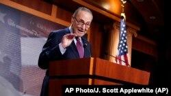 Лідер більшості в Сенаті, сенатор від Демократичної партії США Чак Шумер спілкується з пресою після голосування за пакет економічних стимулів