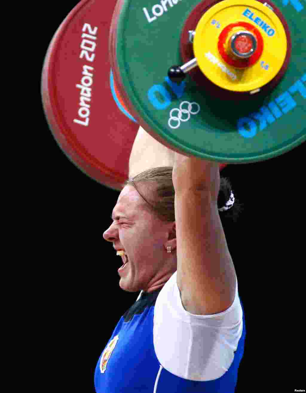 Belarus' Iryna Kulesha lifts on the women's 75kg group A weightlifting competition.