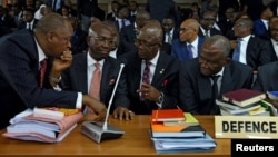 Attorneys defending Nigeria's Chief Justice Walter Onnoghen appear at the Code of Conduct Tribunal in Abuja, Nigeria, Jan. 22, 2019.
