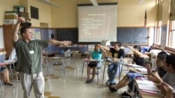 Xavier Chavez, a teacher of English as a second language, teaching a summer history class at Benson High School in Portland, Oregon
