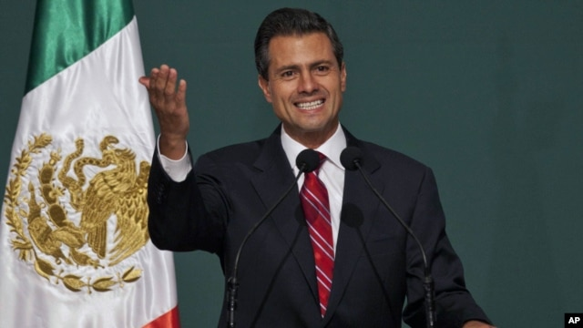 Presidential candidate Enrique Pena Nieto speaks to supporters at his party's headquarters in Mexico City, Mexico, July 2, 2012.