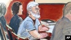 Ilustración de una audiencia con Mustafa Kamer Mustafa en Nueva York, relacionado con el presunto terrorista extraditado.