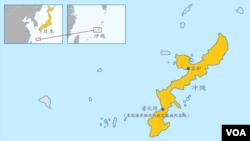 日本冲绳与美国海军陆战队航空基地所在地地图