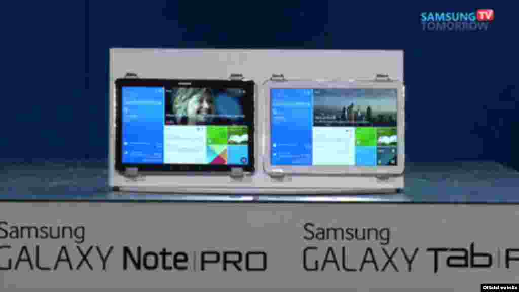 Samsung Galaxy Note Pro 12.2; resolução de 2560 x 1600; Interface Magazine UI, similar a Windows 8 e Windows Phone; 3 GB de RAM; processador Exynos 5 Octa da Samsung, sem 4G; Snapdragon 800 da Qualcomm, com o 4G, quad-core. lançado na CES em Las Vegas. Jan, 6, 2014