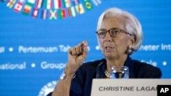 Christine Lagarde lors d'une conférence de presse à Bali, en Indonésie, le 11 octobre 2018.