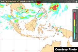 Potensi hujan yang nyaris tidak ada di wilayah Indonesia seperti digambarkan Satelit Himawari. (Foto: BMKG)
