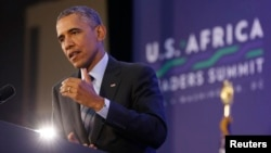 President Barack Obama speaks at the US-Africa Leadership Summit last year. This weekend, he will travel to Africa to call for more investment in the area.