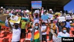 Manifestação contra as sanções americanas em Addis Abeba, 30 de Maio, 2021