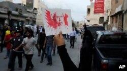 سعودی عرب میں شیعہ راہنما شیخ نمر النمر کو موت کی سزا دیے جانے کے خلاف بحرین میں شیعہ مسلمانوں کا مظاہرہ۔۔ جون 2016