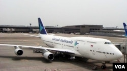 Pesawat Boeing 747-400 milik Garuda Indonesia di bandara Narita, Jepang. (Foto: Dok)