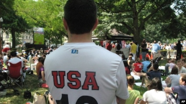 Soccer fans in Washington get to watch the World Cup in a public park for the first time, Saturday, June 12, 2010.
