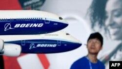 在中国广东珠海举行的2018中国航空展上展出的波音777X机型。(2018年11月7日)