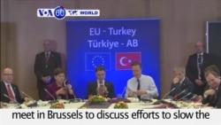 VOA60 World - EU and Turkey discuss migrant flow