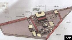 Схема комплекса зданий в Пакистане, где был убит бин Ладен.