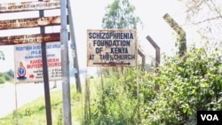 A sign in Ngong points to the location of the Shizophrenia Foundation of Kenya. Is is at the foundation's offices that the Reason to Hope program is run. (R. Ombuor/VOA)