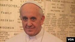 Retrato del Papa Francisco en la Básilica de la Inmaculada Concepción en Washington DC