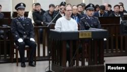 Công dân Canada Robert Lloyd Schellenberg trong phiên toà ở thành phố Đại Liên, tỉnh Liêu Ninh, Trung Quốc vào ngày 14/1/2019.