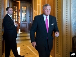 Senate Select Committee on Intelligence Chairman Richard Burr, R-N.C., leaves the chamber after a vote on Capitol Hill in Washington, May 10, 2017.